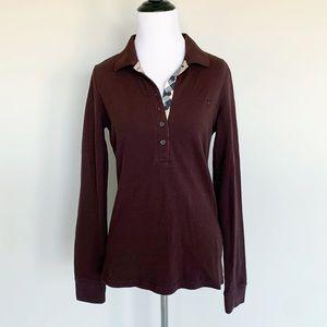 Burberry Chestnut Brown Long Sleeve Polo Shirt